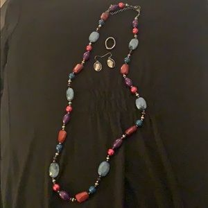 Necklace with black earrings